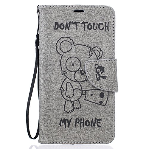 Qiaogle Téléphone Coque - PU Cuir rabat Wallet Housse Case pour Apple iPhone 7 (4.7 Pouce) - BF68 / Don't touch my phone & Gris Un Ours BF68 / Don't touch my phone & Gris Un Ours