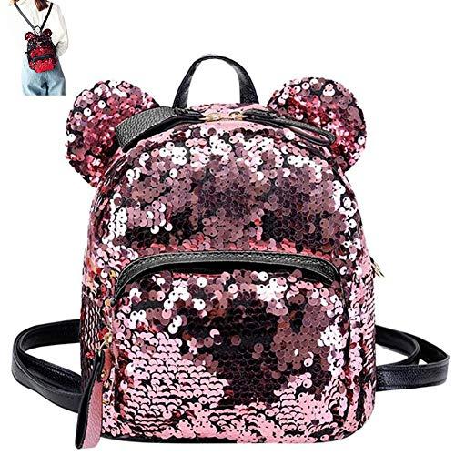 Tragbare Frauen Pailletten Rucksack Mädchen-Karikatur Mickey Ears Mini Schulranzen Teenager Rucksack Frauen Kleine Reisetaschen