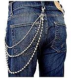 3-fache Metall Kugel Hosenkette Biker Gürtel Kette silber