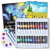Aottom 24 Colori Acrilici Per Dipingere (24 x 12 ml) Pittura Colori Acrilici Professional Colori Ad Olio Per Pittura per…