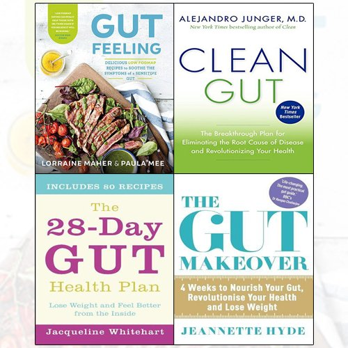 clean gut,the gut makeover,the 28-day gut health plan,gut feeling 4 books collection set - delicious low fodmap recipes to soothe the symptoms of a sensitive gut