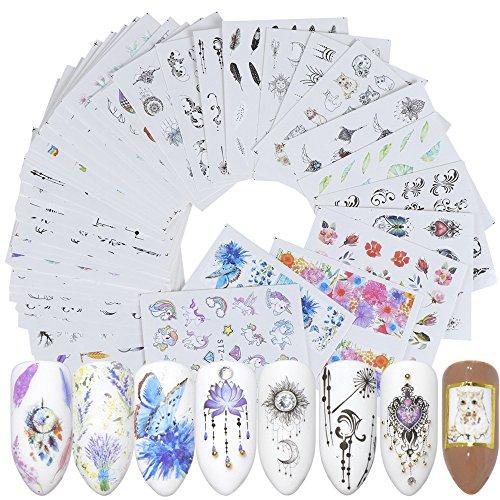 Kanggest.40 Hojas Arte uñas Pegatinas Conjunto Etiquetas
