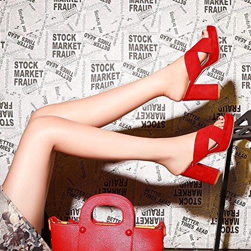 Damenschuhe Pumps Sandalen Open Toe 10cm High-Heel Blockabsatz Criss Cross Slingback mit Plateau Rot