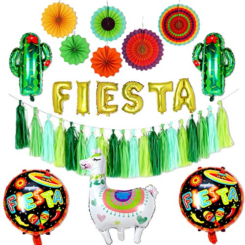 Tacobear Fiesta Party Dekoration Papier Fans Fächer Golden Fiesta Ballon Banner Fiesta Party Quaste Girlande Lama und Kaktusballons für Mexiko Deko Fiesta Thema Jahrestag Geburtsrtag Party Supplies
