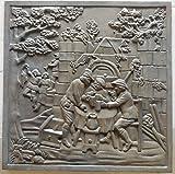 Lunaway Plaque de Cheminée en Fonte Cerfs | Dimensions : 60x60 cm - épaisseur 1,2 cm...
