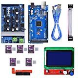 BIQU Mega2560Steuerplatine + LCD 12864Graphic-Smart-Display-Controller-Modul + Ramps 1.6Mega Shield + DRV8825Stepstick Schrittmotor-Treiber mit Kühlkörper für 3D-Drucker Arduino RepRap