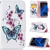 Ooboom® Samsung Galaxy S7 Edge Coque PU Cuir Flip Housse Étui Cover Case Wallet Portefeuille Supporter avec Carte de Crédit Fentes Titulaire de Trésorerie pour Samsung Galaxy S7 Edge - Papillon Fleur de Pêche