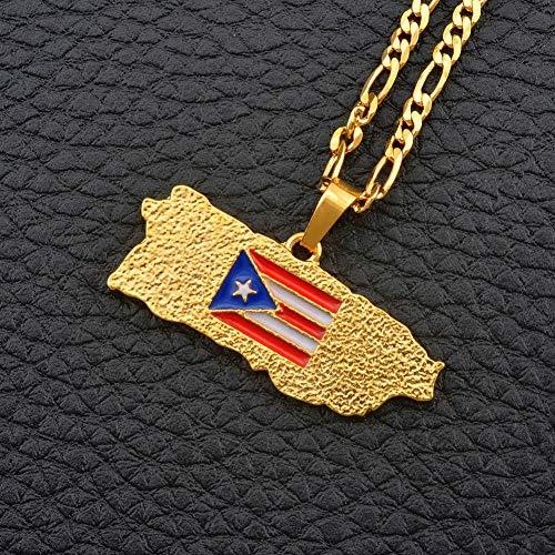 XZZZBXL Damenhalskette Puerto Rico Karte Flagge Anhänger Halsketten für Frauen/Männer Gold Farbe PR Puerto Ricaner Schmuck Geschenke