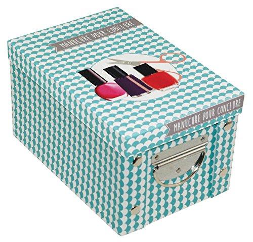 Incidence Paris 42550 Adekuat Boîte Manucure Carton Bleu 23,5 x 15,6 x 14 cm