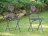 2x Gartenstuhl Paar Stuhl Bistrostuhl Eisen Antik-Stil Gartenmöbel braun