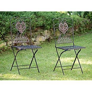 Amazon.de: 2x Gartenstuhl Paar Stuhl Bistrostuhl Eisen Antik-Stil ...