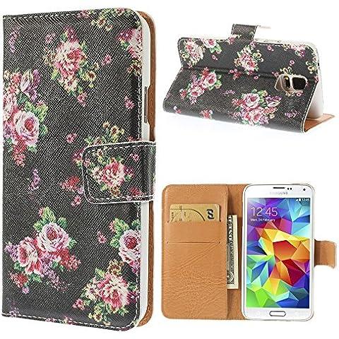 delightable24 Cover Protettiva Bookstyle Flip Case per SAMSUNG GALAXY S5 / S5 NEO Smartphone - Roses Edition Black