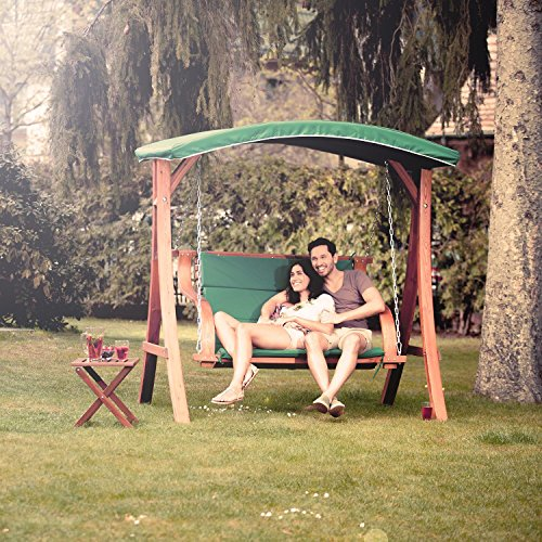 Blumfeldt Tahiti Hollywoodschaukel Gartenschaukel (110 cm breite Sitzfläche, Sonnendach, Lärchen-Holz, Edelstahl-Ketten, bis max. 250 kg, inkl. Polyester Sitz-Kissen) grün - 4