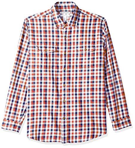 Amazon Essentials Herren Regular Fit-Hemd aus Baumwolltwill mit langen Ärmeln, Rot (Navy/Red Check Nrc), Large -