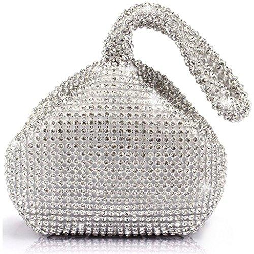 Borsa Tri Creativo Inferiore Da Cristallo In bavero Pochette Sera Argento Diamante Festa Donna Alluminio Design Da Borsa Da Borsa nwZnEB7Rqx