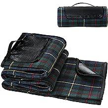 Parque Manta de picnic con forro impermeable en tela escocesa Pic Nic para montaña mar con asa para transporte