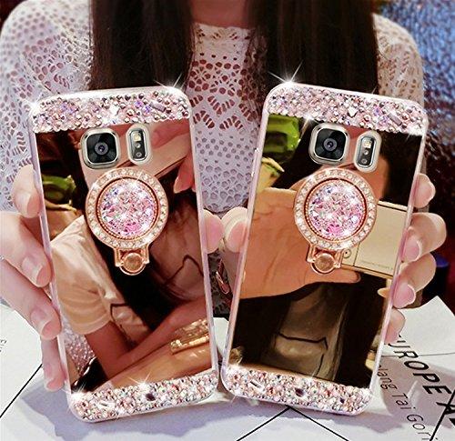iPhone 7 / iPhone 8 Coque Strass Diamant Bling Luxe Sunroyal Coque pour iPhone 8,Rhinestone Housse Ultra Slim Cristal Brillant Téléphone Case avec 360 Degrés Rotation Bague Glitter Anneau Stand Holder Rose Gold