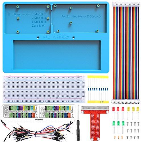 Fr-Arduino-Raspberry-Pi-Holder-Breadboard-Kit-Kuman-7-in-1-RAB-Holder-RPi-GPIO-Breakout-Expansion-Board-830-Punkte-Ltfreie-Leiterplatte-Widerstnde-fr-Arduino-Uno-R3-Mega-2560-Raspberry-Pi-3B-2B-1B-Zer