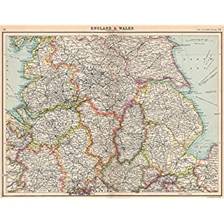 ENGLAND NORTH. Lancashire Yorkshire Lincs Notts Derbys Cheshire Staffs - 1912 - old antique vintage map - printed maps of Great Britain