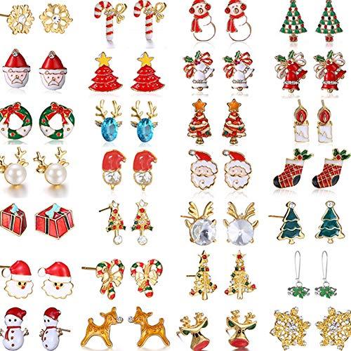 NiceButy 6 Paare Frauen Weihnachtsohrring-Ohr-Bolzen-Set Weihnachten Cartoon Jingle Bells Ohrstecker hypoallergen Weihnachtsgeschenke für Teens Mädchen-Kind-nette Festliche Ohrringe Schmuck-Set