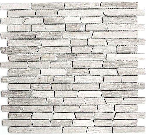 Mosaik Fliese Marmor Naturstein Brick Marmor grau Streifen für BODEN WAND BAD WC DUSCHE KÜCHE FLIESENSPIEGEL THEKENVERKLEIDUNG BADEWANNENVERKLEIDUNG Mosaikmatte Mosaikplatte (Brick-wand-fliesen)