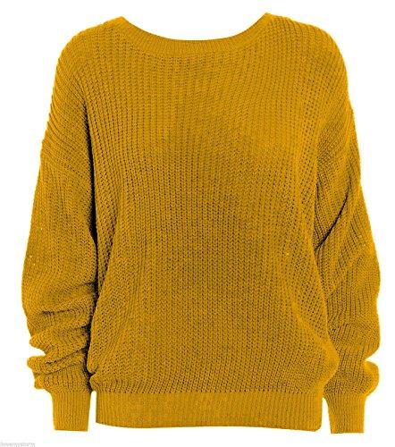Janisramone femmes tricot chunky surdimensionné bouffant manches longues plaine Jumper MOUTARDE