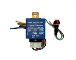 TRP TRADERS Nylon6 Plastic Highway Indicator Flasher V2 for LED Indicators with 30 Modes for All Bikes (Blue, Code-87B)