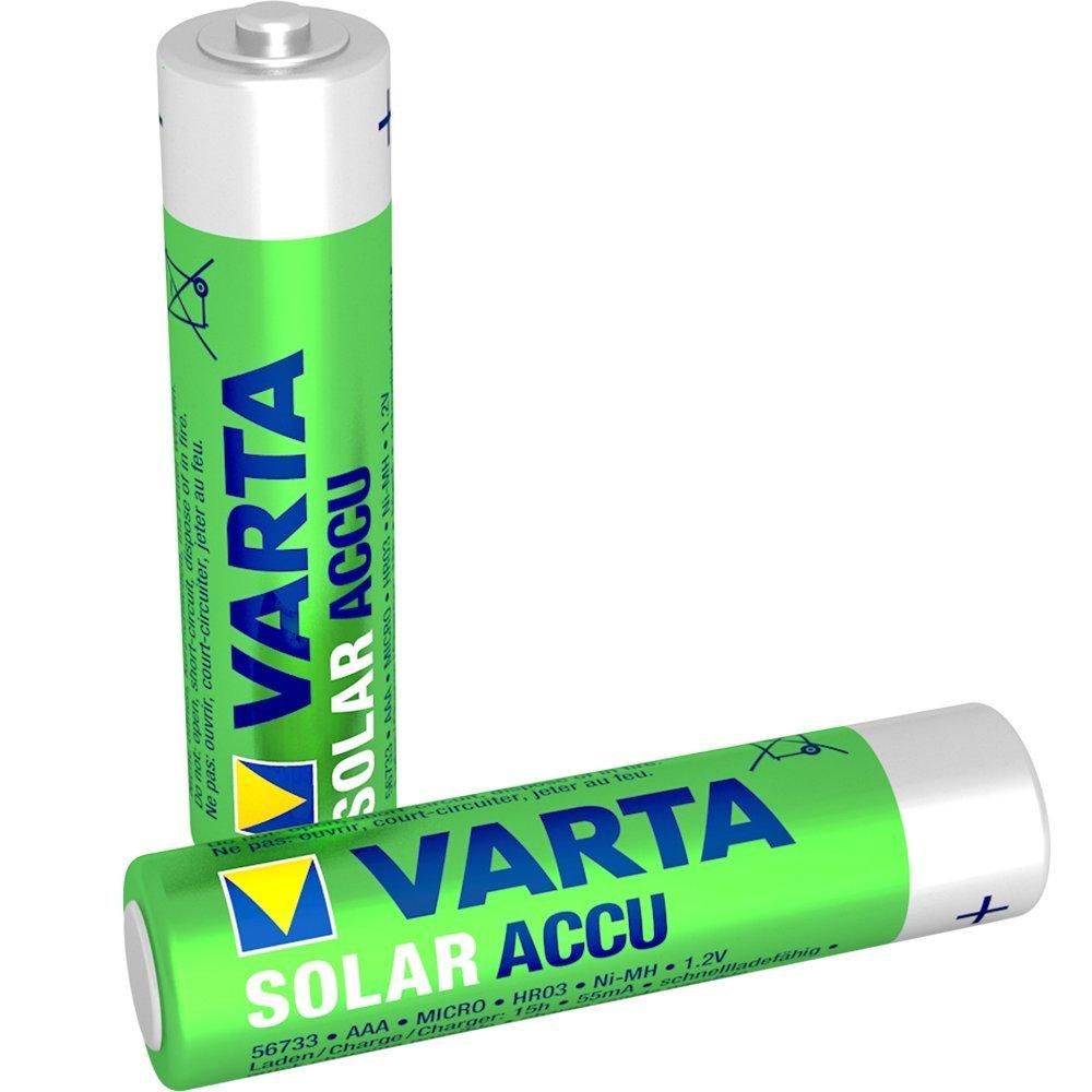 Varta ACCU SOLAR Batteria Ricaricabile, Ministilo AAA 550 mAh, Confezione da 2 Pezzi