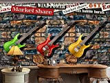 Yosot 3D-Tapeten Fototapete Benutzerdefinierte Wandbild Betten Zimmer Gitarre Kultur Stein Musik Hintergrund Wandmalerei Tapeten Für 3D-Wand-200Cmx140Cm