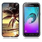 Samsung Galaxy J3 (2016) Hülle, FUBAODA [Beach Sonnenuntergang] Fashion Creative Minimalist Slim Fit Vollschutz Anti Schock Shockproof Flexible 3D zeitgenössischen Chic Design für Samsung Galaxy J3 (2016)