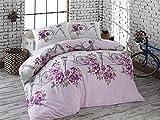 Biancheria da letto Copripiumino cotone in 2misure 2tlg-3tlg 155x 220cm e 200x 220cm, Cotone, weiß flieder violett rosa pink braun lavendel, 155 x 220 cm