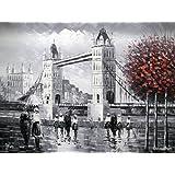 London Tower Bridge Desde el río Támesis - Pintura al óleo pintada a mano sobre lienzo - Excelente calidad y la artesanía