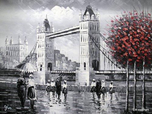 london-tower-bridge-von-der-themse-groe-kunst-l-auf-leinwand-gemlde-hervorragende-qualitt-und-handwe