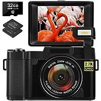 Appareil Photo Numérique Vlogging Camera 30MP Caméra Full HD 2.7K avec Écran Rabattable à 180 Degrés Appareil Photo avec…