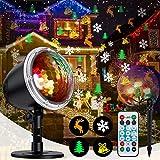 Projektionslampe Beleuchtung, NUÜR Innen Draussen Projektor mit Drahtloser Fernbedienung, Wasserdicht 4 Muster Licht Projektor für Heimat Party Garten Wand Weihnachten Dekoration