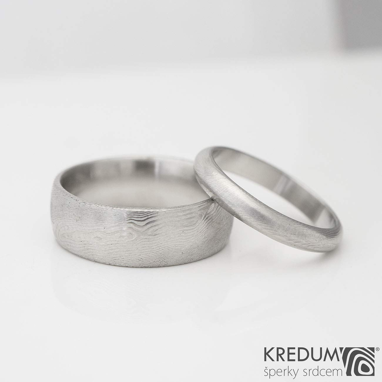 """70038bd75d570 Damascus Stainless Steel Damasteel Simple Domed or Flat Handmade Womens  Mens Wedding Band with a Unique """" Wood """" Pattern - Prima Ring - Top ..."""