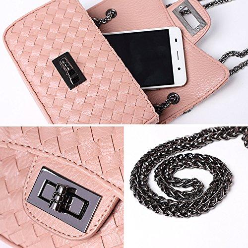 Young & Ming Damen Mini Soft Leder Schultaschen Handtaschen Clutches Schultertasche Messenger Bag mit Metallkette Purplish