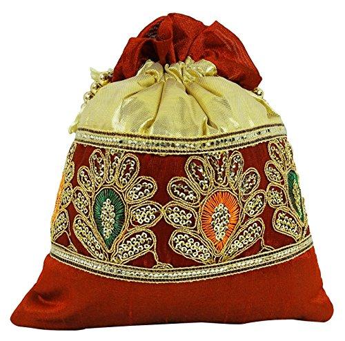 Traditionelle Frauen Blumenmuster Potli Taschen Handmade Brautkupplungs Farbe wählen Bronze