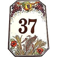 CERAMICHE D'ARTE PARRINI- Ceramica italiana artistica numero civico in ceramica 30x20 personalizzato decorazione uva melograno e grano , mattonella fatta a mano made in ITALY Toscana