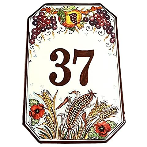 CERAMICHE D'ARTE PARRINI - Italian Ceramic Art Pottery Tile Custom House Number Civic Address Plaques Decorated Grape and Pomegranate Hand Painted Made in ITALY Tuscan