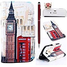 Felfy London Bell Tower PU Cuero Billetera Funda Flip Carcasa Para Samsung Galaxy S3 i9300 + 1x Rojo Búho Enchufe del Polvo + 1x Rojo Lápiz Táctil