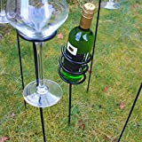Woodside Outdoor Picnic BBQ Barbecue Wine Bottle & Glass Holder Stake Set