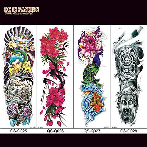 1pc finti tatuaggi maniche per uomo colok rose death skull full arm adesivi tatuaggi temporanei grande fiore sulla spalla del corpo