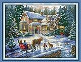 Benway - Quadro a punto croce, motivo: ritorno del Natale, count 14, misure: 57 x 44 cm