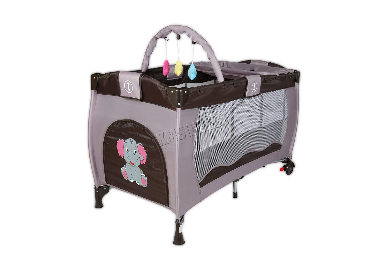 FoxHunter Portable Baby Cot Sleeping Bed Kids Infant Playpen Bassinet Child Play Pen with Entryway Travel BCB01 Coffee FoxHunter Travel cot easy to assemble and disassemble thanks to folding mechanism; igh quality and light weight; Fast and easy set-up, safe material and easy to clean; 3