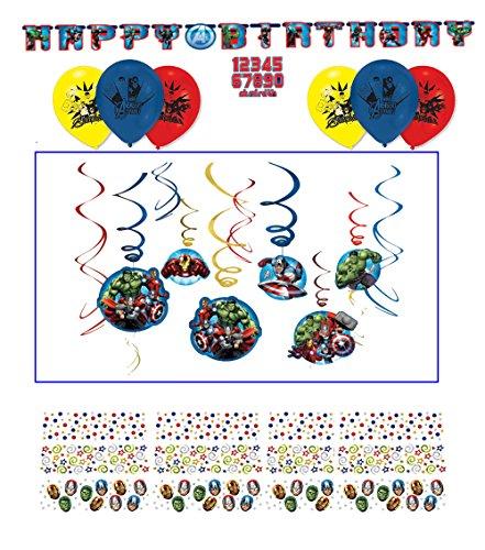 Geburtstag Dekoration Sets Avengers // Happy Birthday // Kinder Geburtstag Kinderparty Party Decken-Deko Deko Swirl Decorations Dekoration Hänge-Deko Motto Marvel Iron-Man Hulk Thor ()