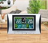 Sveglia meteo SXWY wireless, sveglia, orologio digitale a LED, orologio multifunzione per temperatura e umidità, allarme per la visualizzazione della temperatura di umidità, orologio snooze, sensore e
