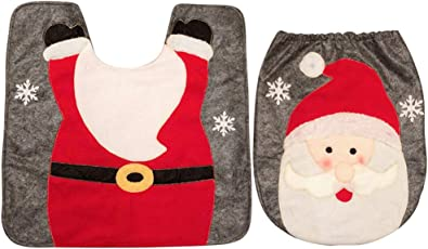 happy event Christmas 2ST Fancy Santa Toilettensitzbezug und Teppich Badezimmer Set Weihnachtsdekor | 2PCS Fancy Santa Toilet Seat Cover and Rug Bathroom Set Christmas Decor (A)