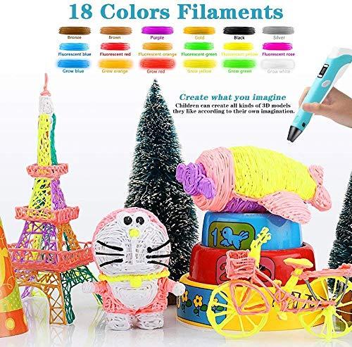 Lovebay 3D Drucker Stift DIY Scribbler 3D Stereoscopic Printing Pen mit LCD-Bildschirm + 3 X ⌀1,75 mm PLA Filament Blau Weiß Grüne,insgesamt 9M || für Kinder Anfänger Erwachsene Zeichnung - 2
