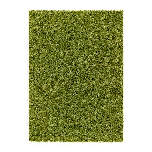 Ikea Hampen - Alfombra, Pelo Largo, de Color Verde Brillante - 133x195 cm